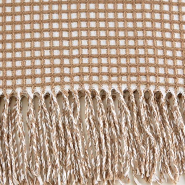 Stone & White Waffle Knit Throw