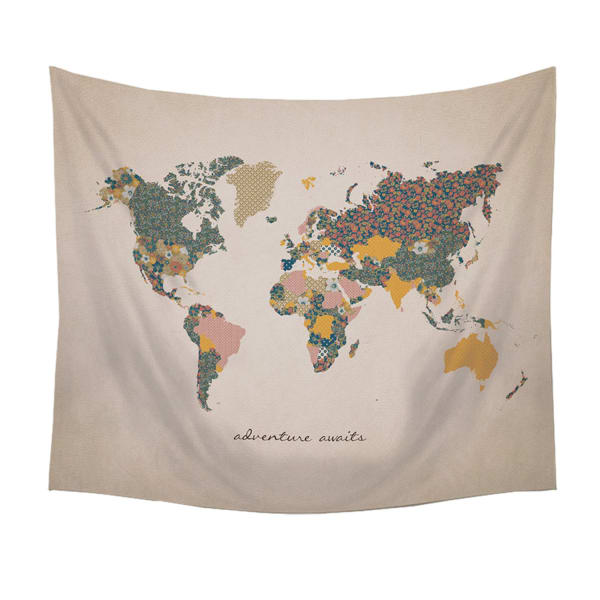 Adventure Awaits World Map Wall Hanging Tapestry