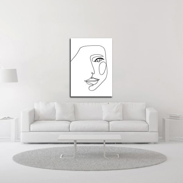 Face Line 1 by Design Fabrikken Wrapped Canvas Wall Art