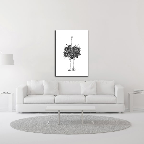 Floral Ostrich by Balazs Solti Wrapped Canvas Wall Art