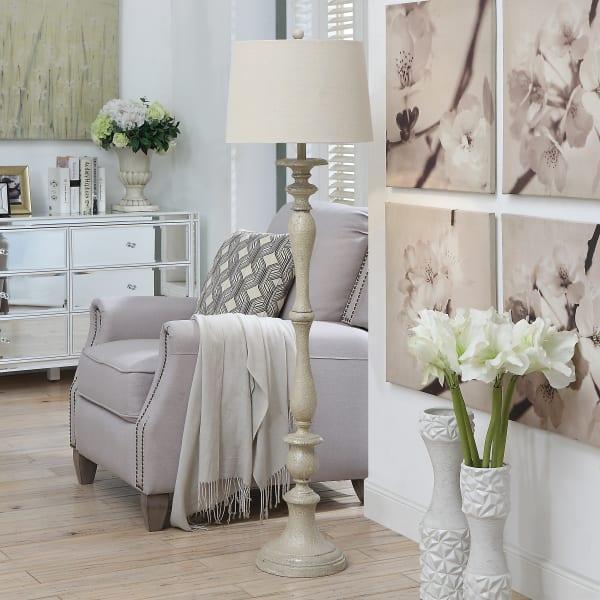 Delphine Antique White Column Floor Lamp