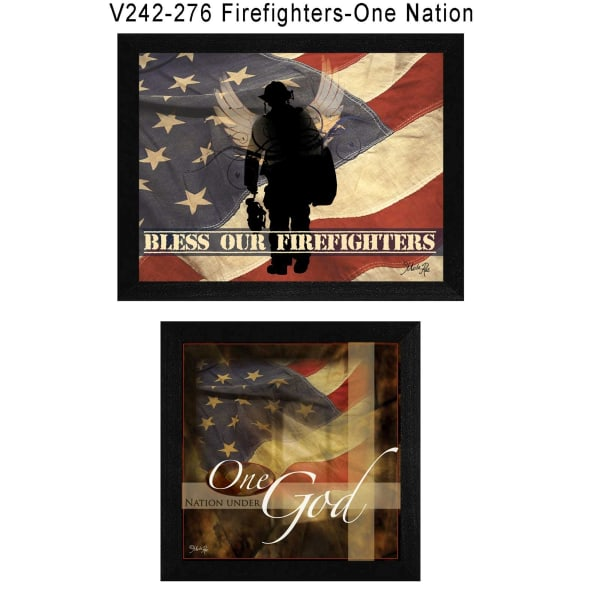 Firefighters One Nation Collection By Marla Rae Framed Wall Art