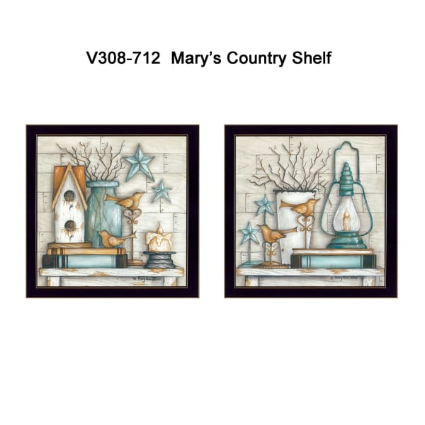 Mary's Country Shelf Collection By Mary June Framed Wall Art