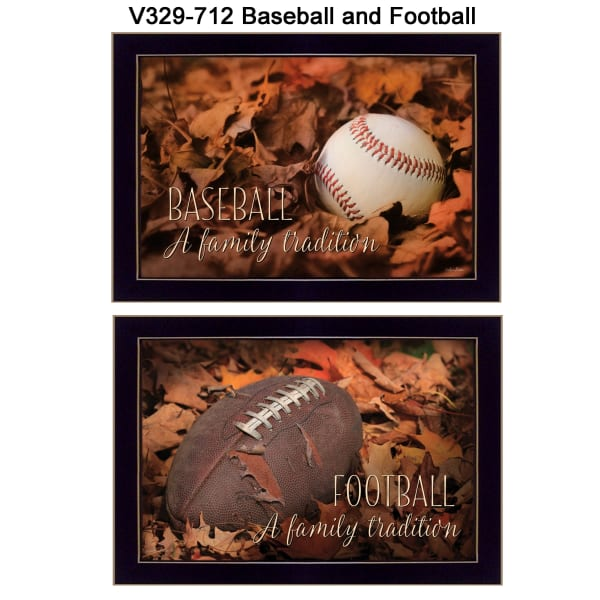 Baseball and Football Collection By Lori Deiter Framed Wall Art
