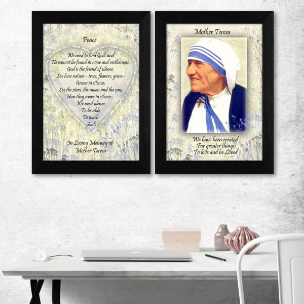 Peace Quotes by Mother Teresa Collection Framed Wall Art