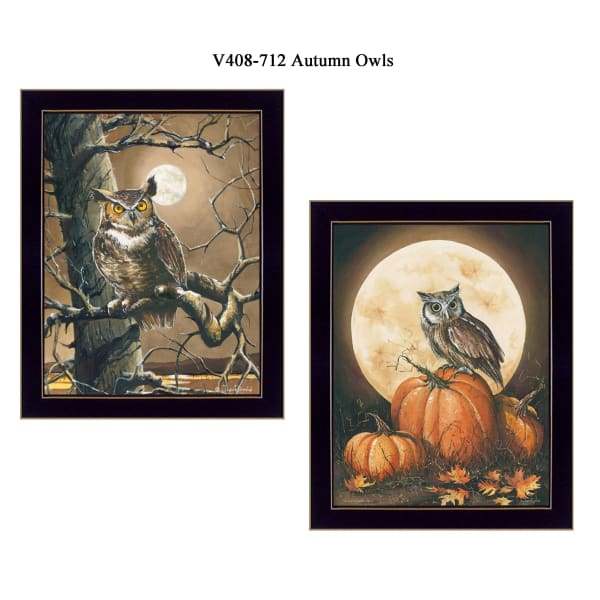 Autumn Owls Collection By John Rossini Framed Wall Art