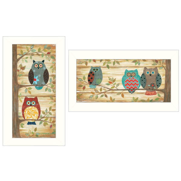 Whimsical Owls  by Annie La Point Framed Wall Art