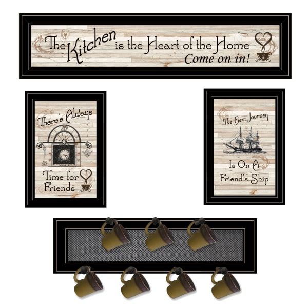 Kitchen Print (33 x 8) & Mug Rack (Horizonal) 27 x 8 x 3 Framed Wall Art
