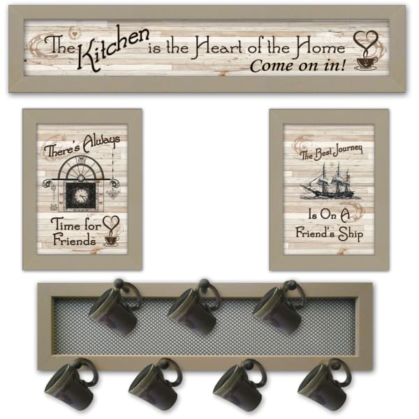 Kitchen Collection VI 4-Piece Vignette with 7-Peg Mug Rack by Millwork Engineering Framed Wall Art