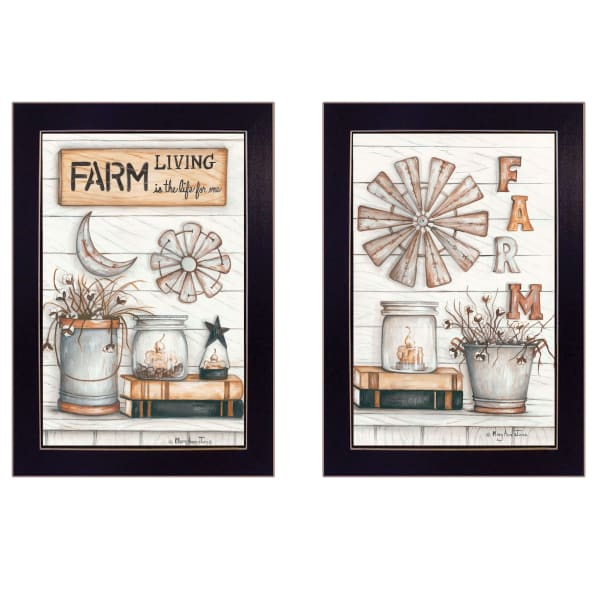 Farm Living 2-Piece Vignette by Mary Ann June Framed Wall Art