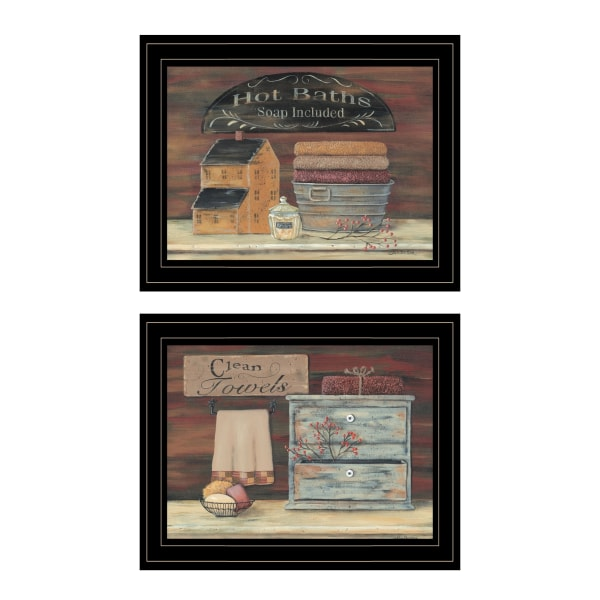 Hot Bath / Clean Towels 2( 17 X 14 ) Collection By Pam Britton Framed Wall Art