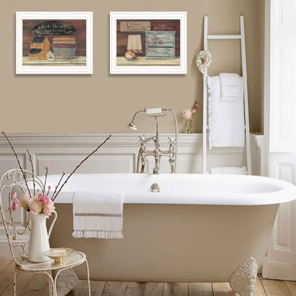 Hot Bath / Clean Towels 2( 17X14 ) Collection By Pam Britton Framed Wall Art