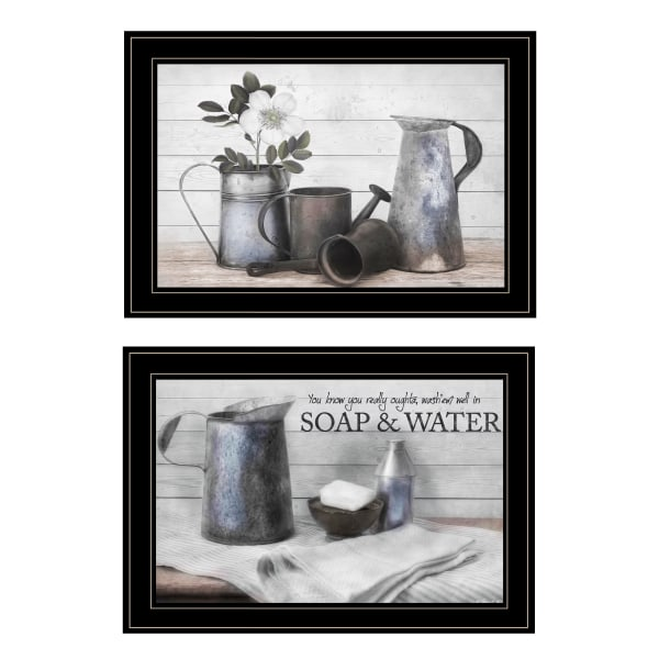 Soap / Floral 2-Piece Vignette by Robin-Lee Vieira Framed Wall Art