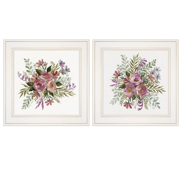 Floral Spray I & II 2 Piece Vignette by Cindy Jacobs White Framed Wall Art