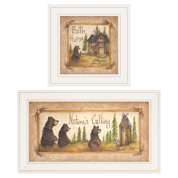 Natures Bath 2 Piece Vignette by Mary Ann June White Frame