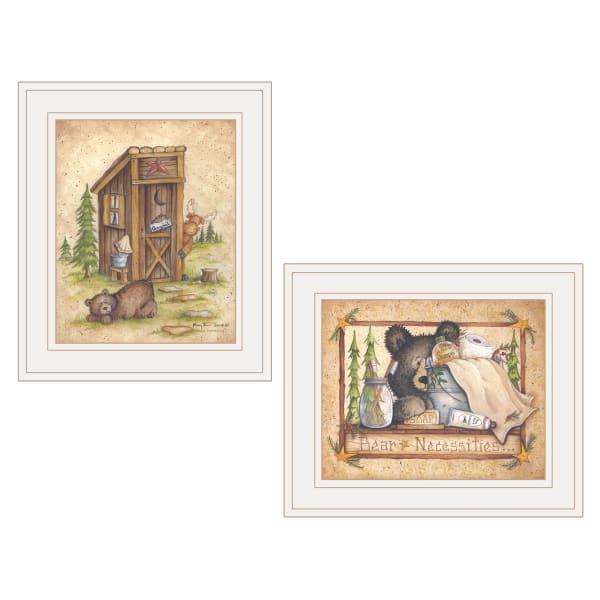 Bear Still Waiting 2 Piece Vignette by Mary Ann June White Frame