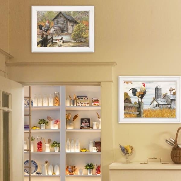 Down on the Farm 2 Piece Vignette by Ed Wargo White Frame