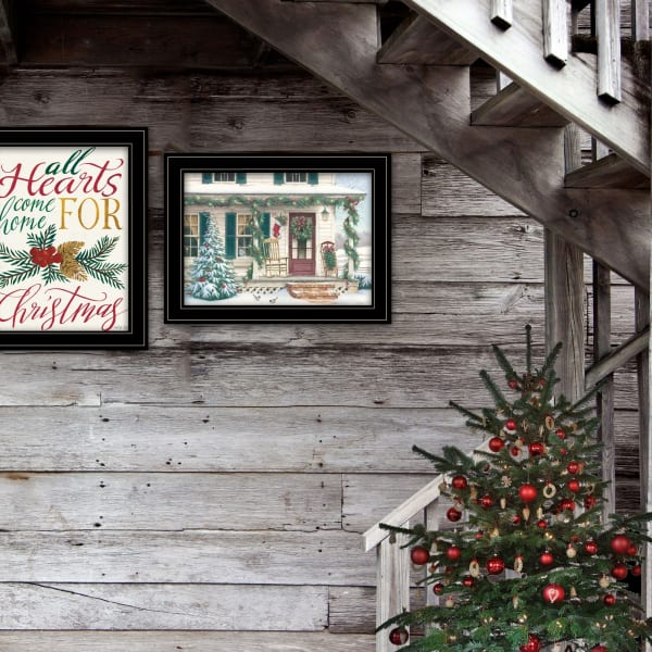Come Home for Christmas 2 Piece Vignette by Cindy Jacobs and Richard Cowdrey Black Frame