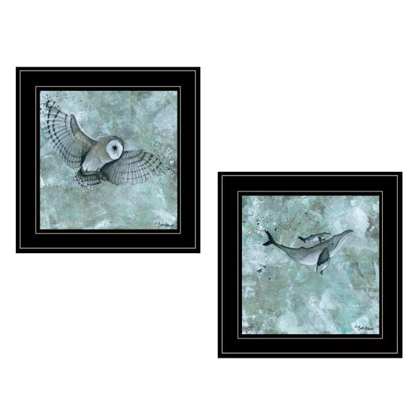 Wildlife 2 Piece Vignette by Britt Hallowell Black Frame