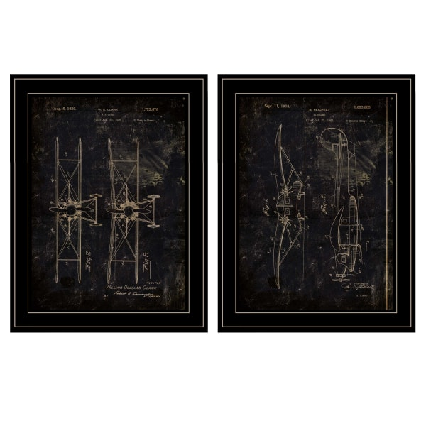Airplane Patent I & II 2 Piece Vignette by Cloverfield & Co Black Frame