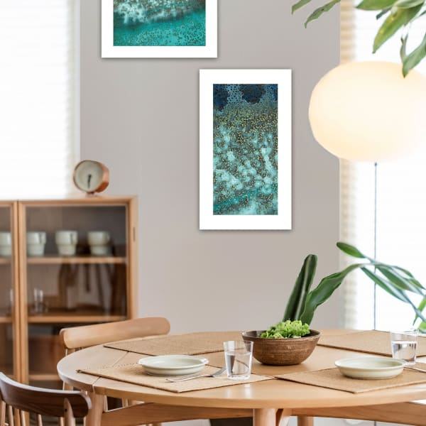 Abstract Waves Caribbean Oceans bottom rock 2 Piece Vignette by Jay Zinn White Frame