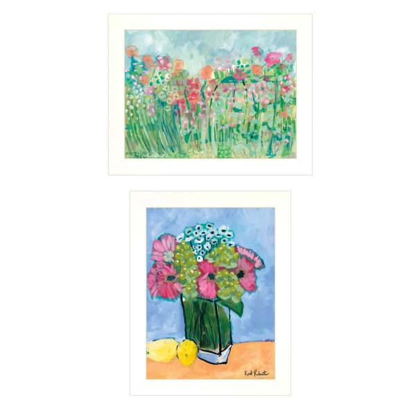Flower field Bouquet 2 Piece Vignette by Kait Roberts White Frame