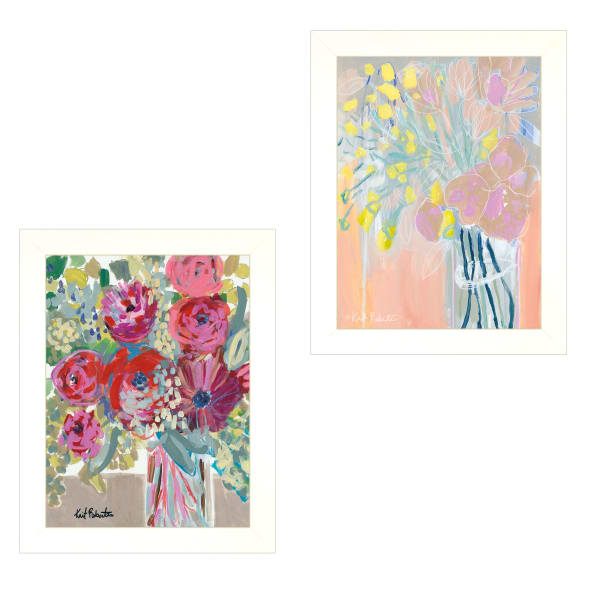 Pastel Bouquets Maybe She's a Wildflower 2 Piece Vignette by Kait Roberts White Frame