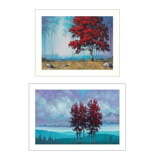 Red Trees 2-Piece Vignette by Tim Gagnon Framed Wall Art