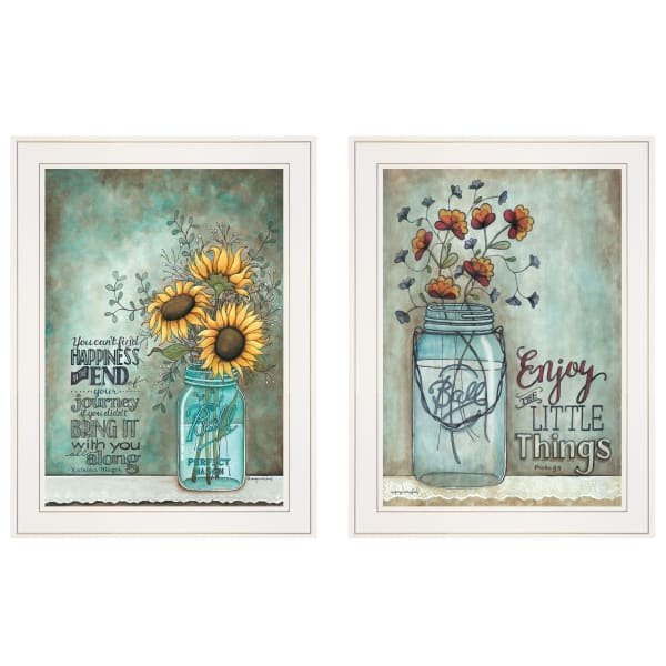 Enjoy the Little Things Happiness 2-Piece Vignette by Tonya Crawford Framed Wall Art