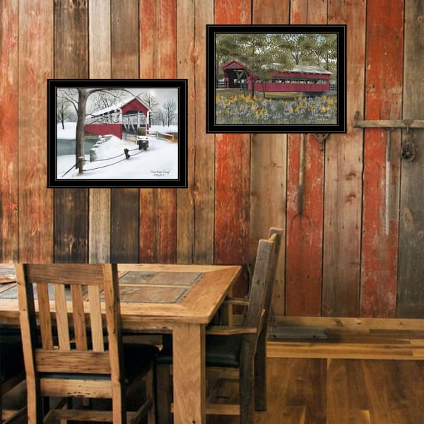 Billy Jacobs Covered Bridge Collection III 2-Piece Vignette by Billy Jacobs Framed Wall Art
