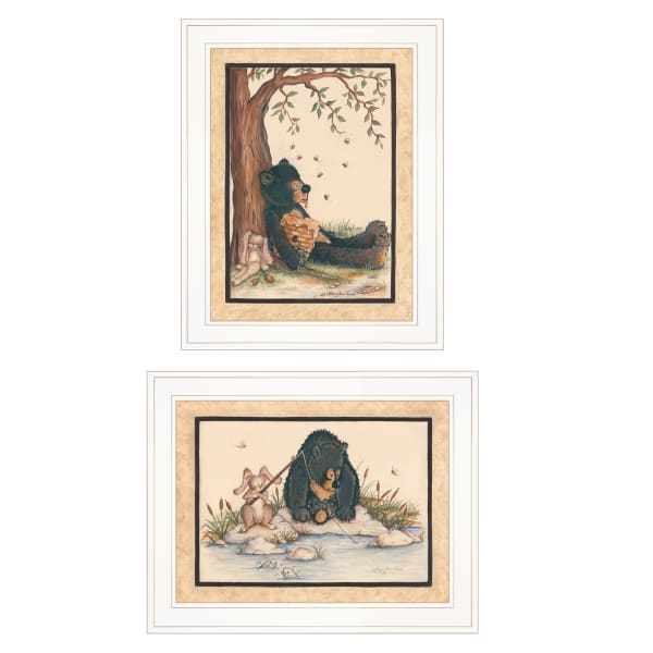 Gone Fishing 2-Piece Vignette by Mary June Framed Wall Art