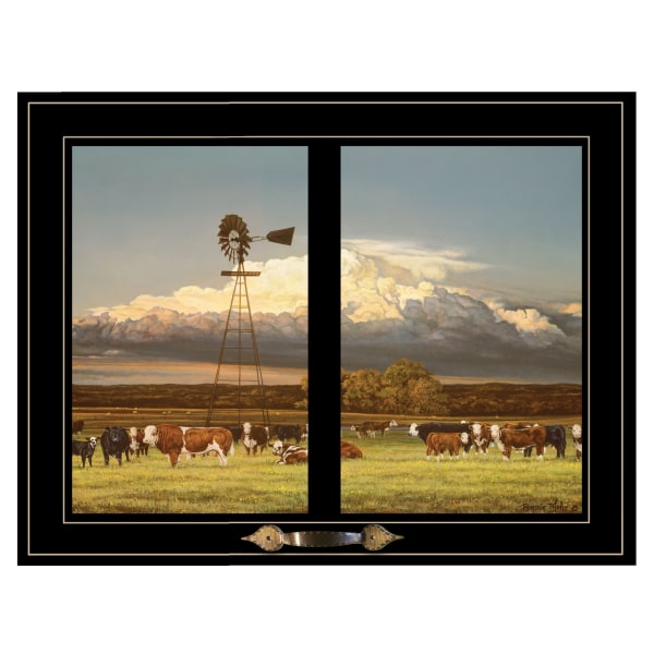 Summer Pastures (Holstein cows with windmill) by Bonnie Mohr Framed Wall Art