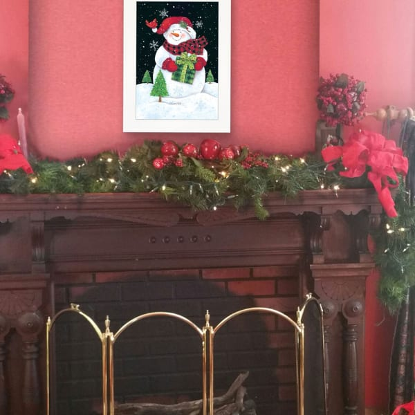 Plaid Stocking Hat Snowman by Diane Kater Framed Wall Art