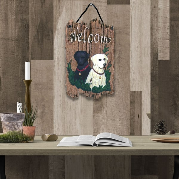 Welcome Sign Two Labradors Wall Decor