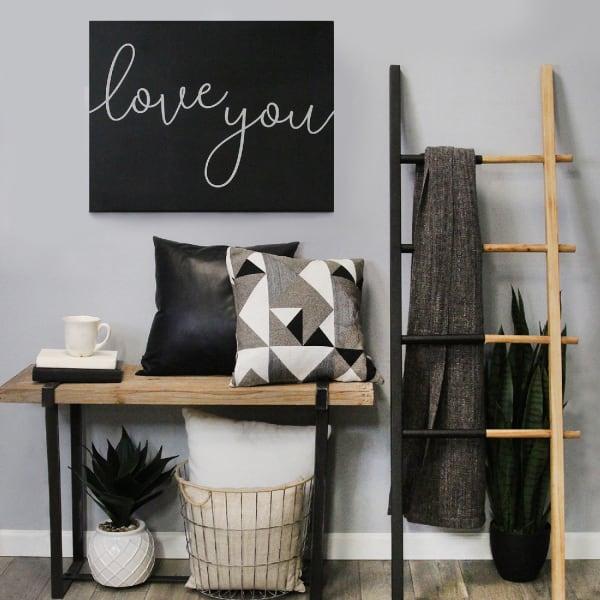 Love You Matte Black Wall Decor
