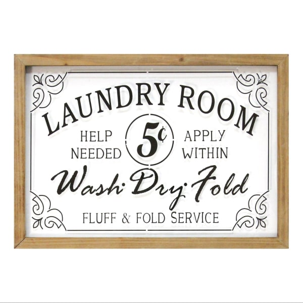 Vintage Style Laundry Room Framed Glass and Wood Wall Decor