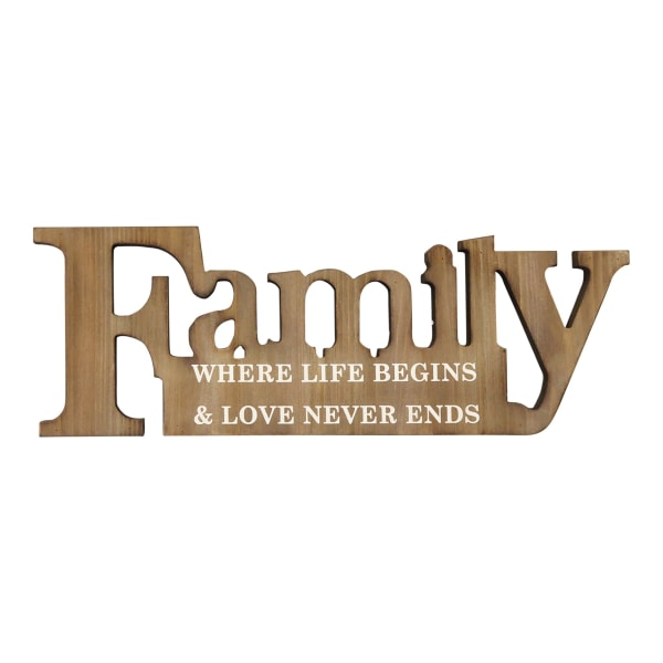Family Where Life Begins Natural Wooden Wall Decor