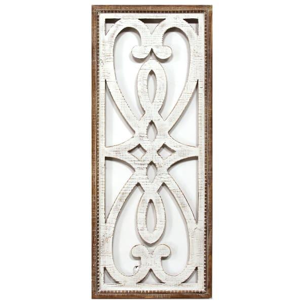 Distressed Heart and Fleur de Lis Wood Panel Wall Decor