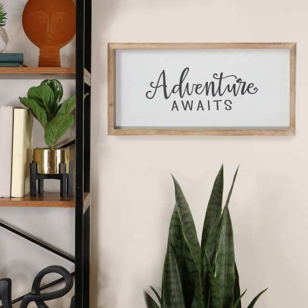 Adventure Awaits Natural White Framed Wood Wall Decor