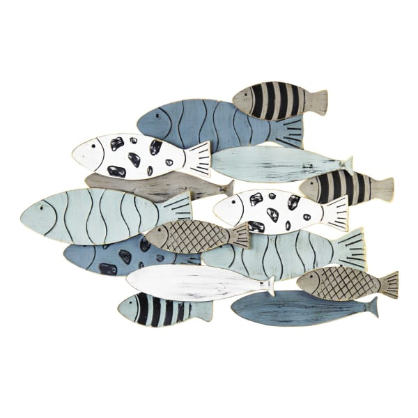 Hand Painted with Metallic Fish Gold Edge Wall Decor