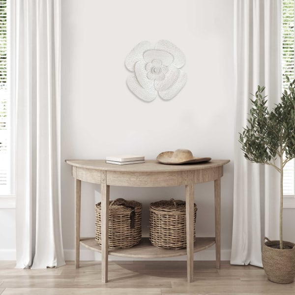 Floral White and Beige Tones Metal Wall Decor