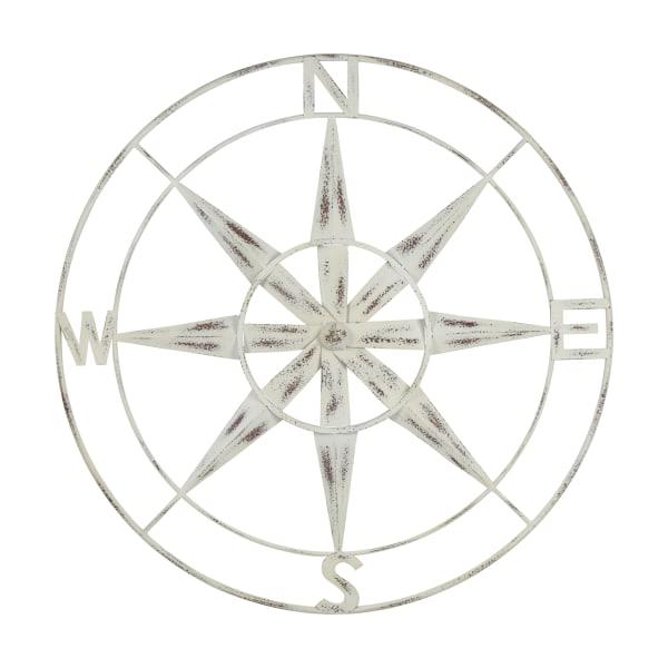 Distressed Nautical Compass White Finish Metal Wall Decor