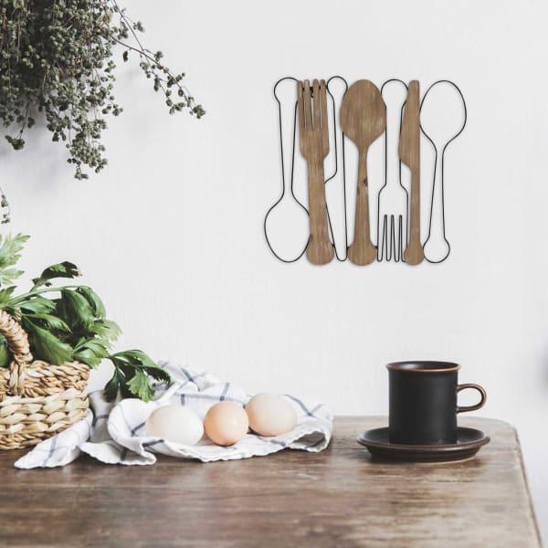 Kitchen Utensils Outlines Metal Wall Decor