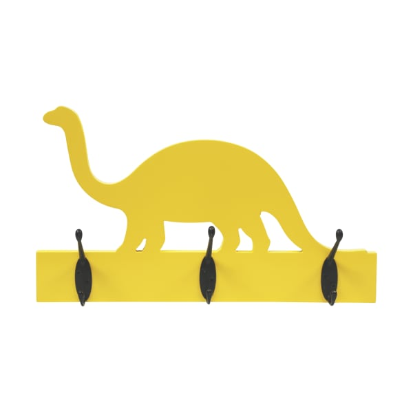 Yellow Dinosaur with Hooks Wall Decor