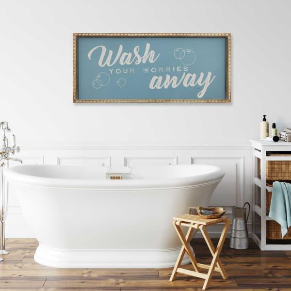 Wash You Worries Away Framed Wall Decor