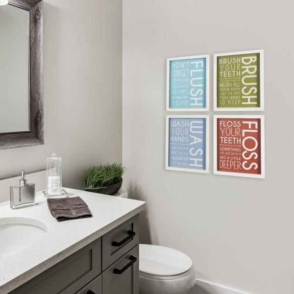 Flush, Brush, Wash, Floss Framed Wall Decor
