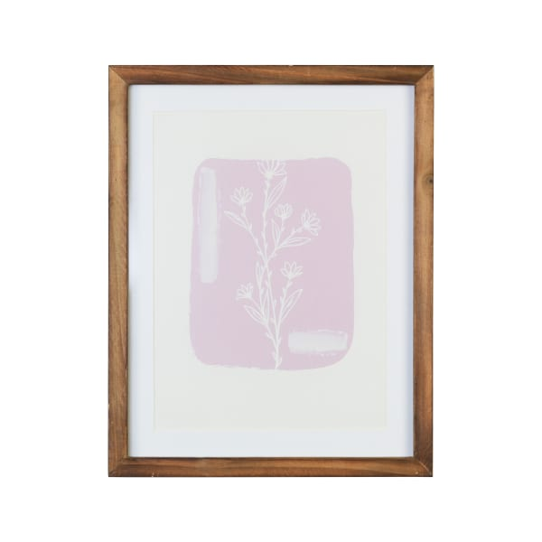 Pink and White Simple Botanical Flower Framed Wall Art