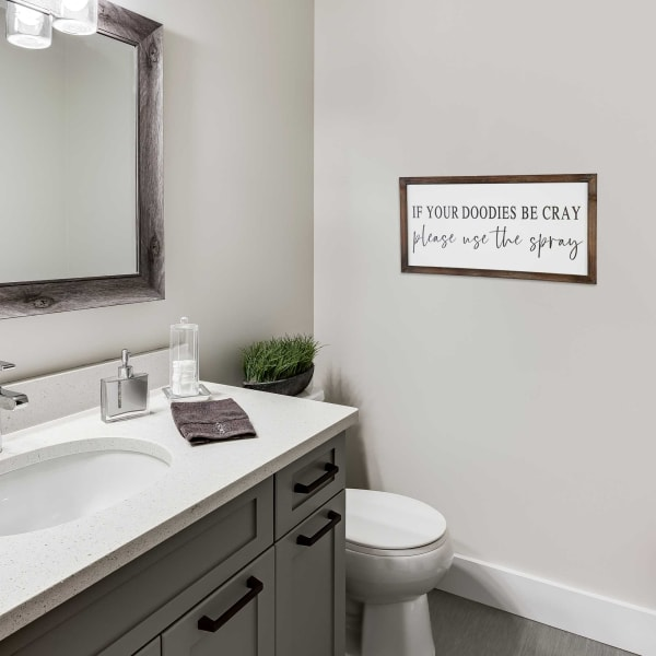 If Your Doodies Be Cray, Please Use The Spray Framed Wall Decor