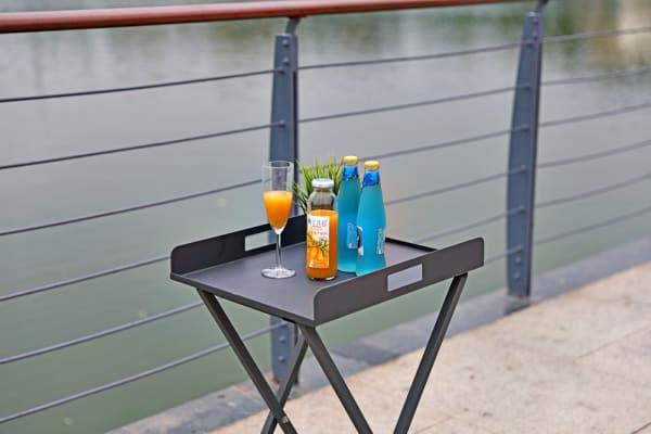 Gray Aluminum Outdoor Tray Table