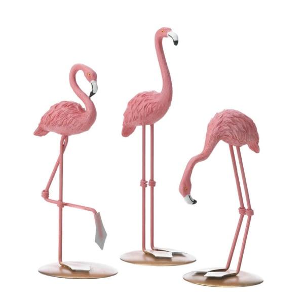 Set of 3 Tabletop Flamingos